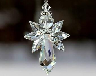 "m/w Swarovski® crystal, BIG 18mm Logo Triple Wings 2.25"" Elegant Guardian Angel Suncatcher Car Charm Home Ornament, Pearl Place N More"