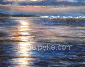 Moonrise over the City and Lake Night Landscape original painting
