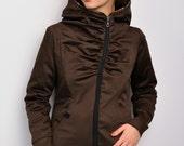 asymmetric hoodie jacket - brown - flowers