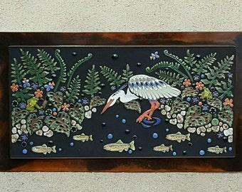 MOSAIC WALL ART wall decor walking heron with fish, indoor outdoor patio art handmade made-to-order tile