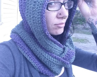Green and Purple Hooded Circle Scarf
