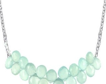 Seafoam chalcedony gemstone bib necklace