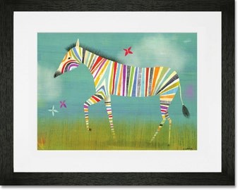 Rainbow Zebra // Art Print Framed // Ready to Hang