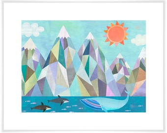 Mountain Adventure by the Sea, Paper Art Print