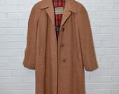 Vintage Heavy Wool Camel Plaid Lining Harris Tweed Winter Coat