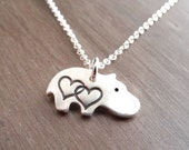 Tiny Double Heart Hippo Necklace, Baby Hippo Love, Fine Silver, Sterling Silver Chain, Made To Order