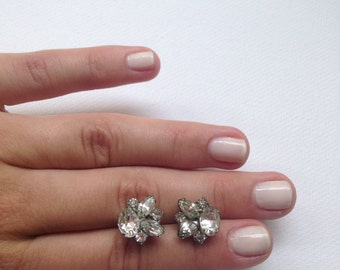 Sparkling Crystal Rhinestone Cluster Earrings - Ella