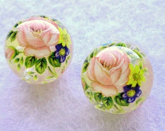 NEW BEAUTIFUL Pair Japanese Tensha Beads Pink Rose on Clear 14 MM
