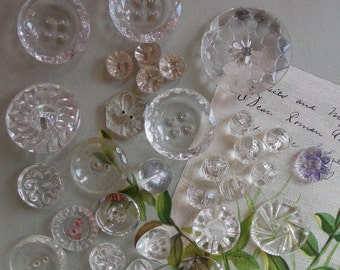 Mixed Lot of 30 Clear Glass Buttons