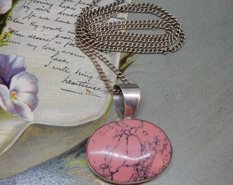 Artisan Made Sterling Silver & Pink Jasper Stone Pendant Necklace on Sterling Chain    NAN23