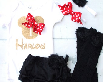Disney Baby Girl 1st or 2nd Minnie Mouse Birthday Personalized Set.  Minnie Head & Name Bodysuit, Headband, Diaper Cover Legging