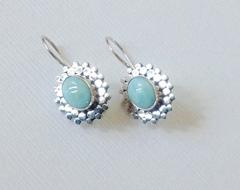 Larimar earrings,Larimar gemstone earrings, blue Larimar earrings, Dangle Earrings, Larimar Jewelry, Rustic Wedding earrings, mom