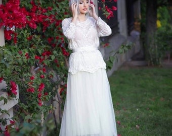 Lace blouse, off white ivory black Victorian inspired lolita shirt boho chic steampunk blouse bridal vintage wedding