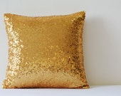 Shiny Gold Pillow Cover , 24 Carat Gold Cushion Cover, Holiday Decor , Sequin Throw Pillow , Gold Decorative Pillow Cover , Sparkle Pillow