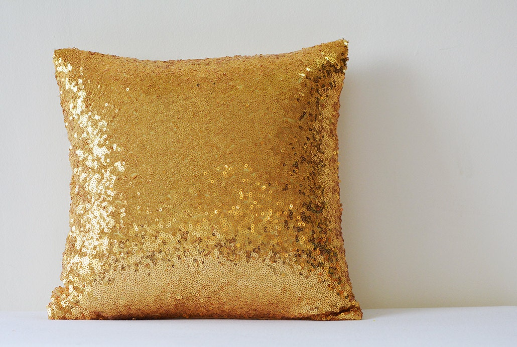 shiny 24 ct gold pillow cover metallic gold cushion cover holiday decor sequin - Gold Decorative Pillows