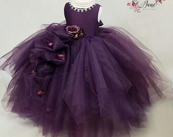 Violet - Couture Flower Girl Dress, Girls Tulle Dress,Girls Plum Dress