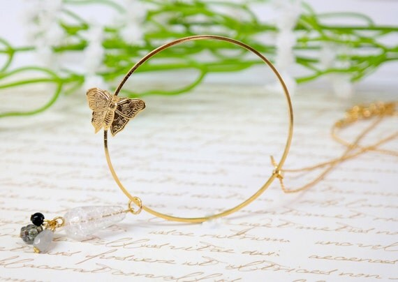 Gift For Women, Gentle Gold Butterfly Necklace, Hoop Necklace, Hoop Gold Necklace, Unique Necklace, Women's Jewelry