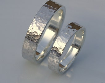 Rock Texture Rings - Shiny Hammered Wedding Bands in Sterling Silver, Set of Two Rings, His and Hers