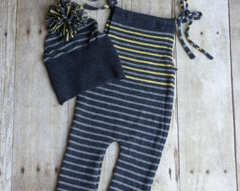 Newborn Baby Boy / Newborn Baby Girl Upcycled Romper with Upcycled Baby Hat - Blue and Gold - READY TO SHIP