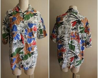 Vintage Tropical Hawaiian Tiger Print Blouse - Size Large - Rare Vintage - Funky Print