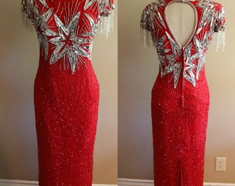 Vintage Red Silk Beaded Sequin Maxi Cutout Dress - Size Petite Small - Laurence Kazar- Party - Gown - Evening - Holiday