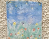 Flower Meadow Ceramic hanging plaque, Clouds and Stars wall hanging, Bright Nature Pottery Tile.