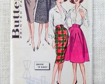 Vintage Butterick 9082 slim Skirt flare pockets pencil 1950s vintage Waist 26 Uncut