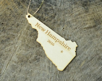 Natural Wood New Hampshire State Ornament WITH 2016
