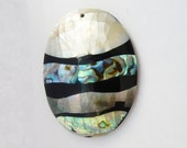 Oval abalone shell pendant with stripe design . with hole , (55x41mm)