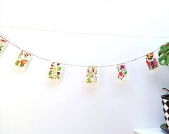 Spring Flower Bunting - from book and buttons - upcycled -A-
