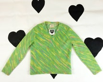 60's Pastel Candy Psychedelic Darlene Sweater 1960's green V-neck wool mohair pullover knit sweater / Fluffy / Molten Pastel / Cheerleader M