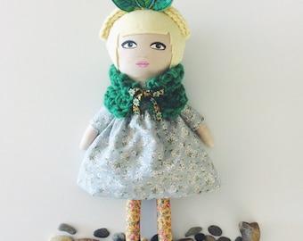 Ivy - handmade doll - leaves - headdress - floral doll - artdoll