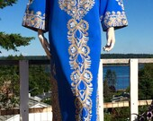 Vintage 70s Ethnic Bohemian Embroidered MOROCCAN Caftan Dress or Coat M L