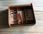 Vintage Portable Wooden Table Top Roll Top / Organizer / Holder