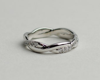 French pave twisted eternity wedding ring - Available in Platinum and Solid Gold