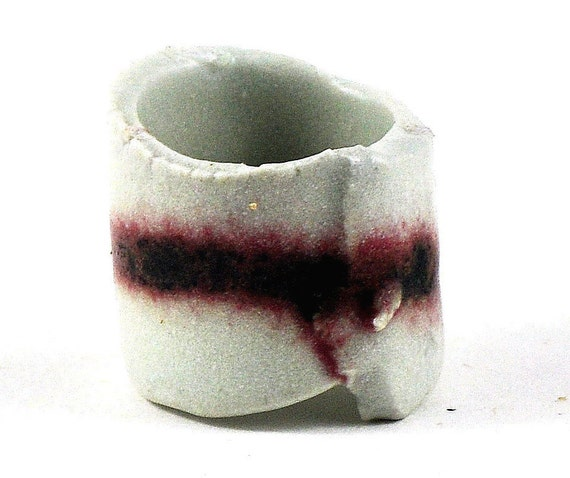 Statement Ceramic Ring Mens Womens Pottery Jewelry Marsala Garnet and White Rustic Handmade January Birthstone Birth colour