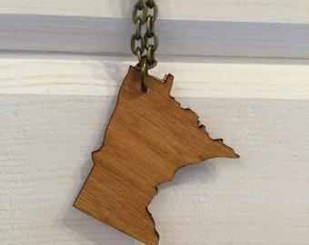 wood cutout Minnesota state necklace