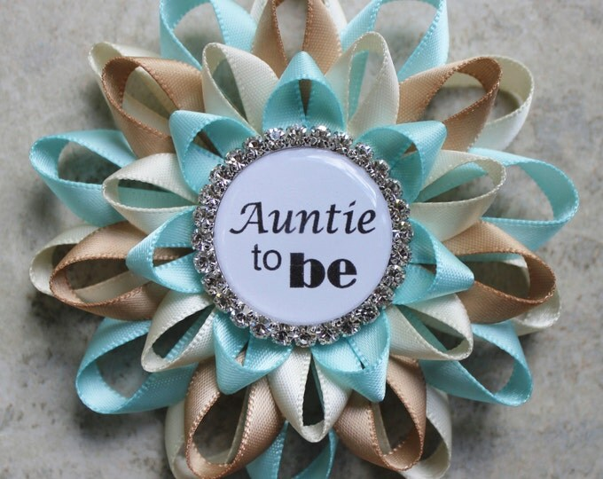 Auntie Gifts, Auntie to Be Pin, Auntie to Be Gift, New Aunt Gift, New Mom Gift, Aqua Blue, Ivory, Champagne Baby Shower Decorations