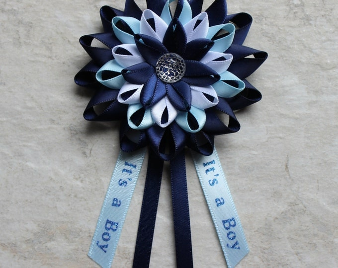 Baby Boy Shower, Boy Baby Shower Decorations, New Mom Gift, Baby Shower Corsage, It's a Boy Ribbon, Mommy to Be Flower, Blue