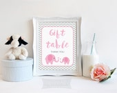 Gift Table Sign, Pink Elephant Baby Shower Gift Table Sign, Grey Chevron, 2 Sizes, DIY Printable, INSTANT DOWNLOAD