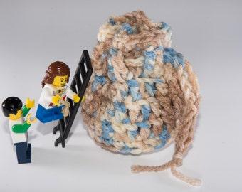 Coin Bag - Mirage - Money Dice Token Medicine Bag - Drawstring - Desert Camo Beighe Cream Tan Blue Multi Colour Color