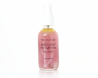 Amethyst & Moonstone Gem Water   Travel Size   Facial Mist with Crystals   100% natural and vegan