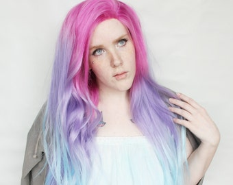 SALE Pastel Wig - Lace Front wig | Long Straight Rainbow Wig | Purple Pink Blue Lace Front wig | Seraphina