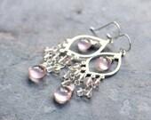 Rose Quartz Earrings Chandelier Earrings Sterling Silver Pink Long Dangle Gemstones Delicate Romantic