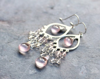 Rose Quartz Earrings Chandelier Earrings Sterling Silver Pink Long Dangle Gemstones Delicate Romantic