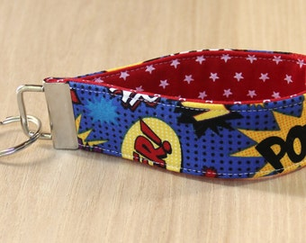 Key Fob Wristlet - Comic Book Superhero Words - Ready to Ship
