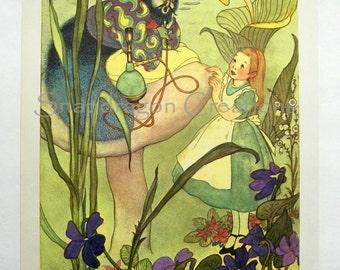 Vintage Alice in Wonderland Illustration, Alice and the Caterpillar, Margorie Torrey, 1960's, Dandelion Library, Frameable Print