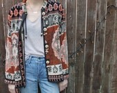 Vintage India Woven Tapestry printed embellished Cardigan Jacket