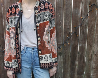 Vintage India Woven Tapestry printed embellished Cardigan Jacket