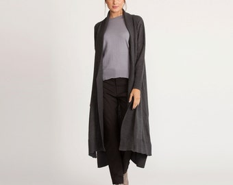 Gray knitted cardigan, knitted top, maxi length cardigan, long jacket, long sleeves coat, maxi winter coat, open sweater
